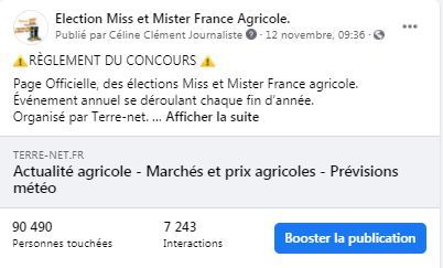 likes et commentaires page facebook election miss et mister france agricole