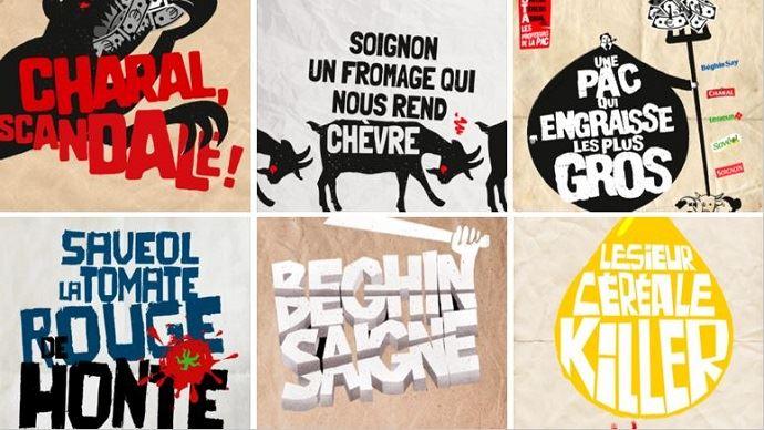 Affiches et slogans de la campagne de communication «Basta» lancée par la plateforme «Pour une autre Pac» qui souhaite dénoncer l'accaparement des aides de la Pac par les groupes agroalimentaires
