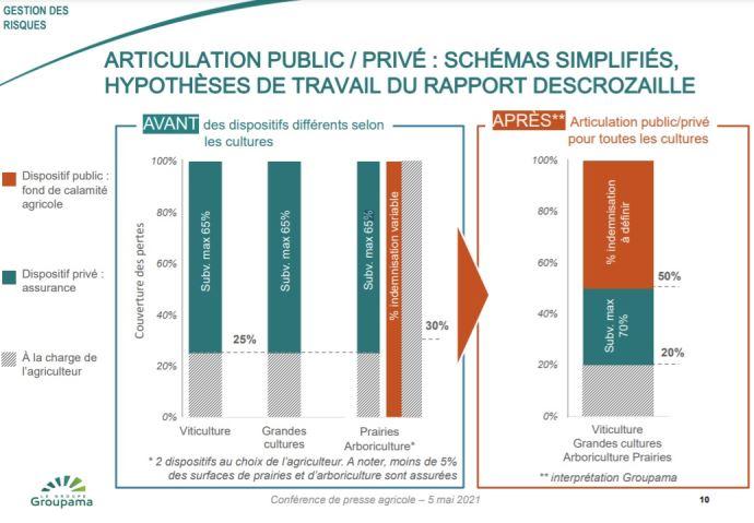 Hypothèses de travail du rapport Descrozaille sur l'articultion public/privé (interprétation Groupama)