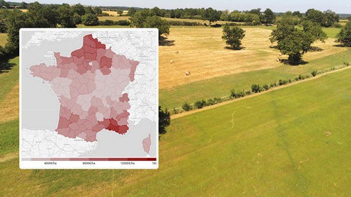 Le prix moyen des terres et prés libres s'élève à 6080€/ha en 2020, en hausse de +1,3% par rapport à 2019.