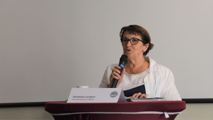 Christiane Lambert, lors de la conférence de presse de rentrée de la FNSEA le 2 septembre.