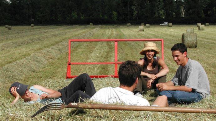 jeunes agriculteurs dans un champ