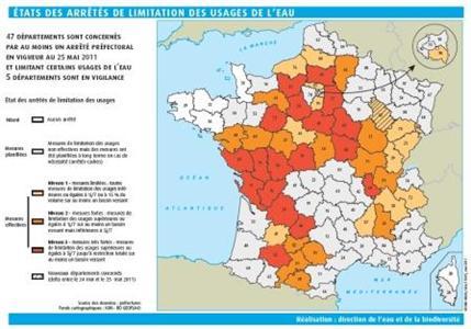 47 départements désormais concernés par des restrictions d'eau